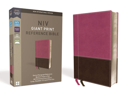 NIV Giant Print Reference Bible-Pink/Brown Leathersoft