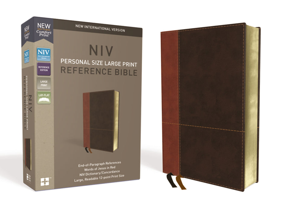 NIV Personal Size Large Print Reference Bible-Tan/Dark Brown Leathersoft