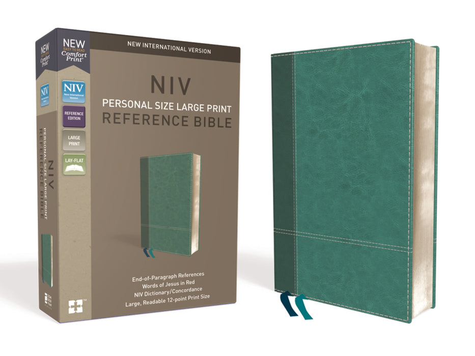 NIV Personal Size Large Print Reference Bible-Turquoise Leathersoft