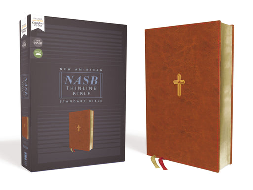 NASB-Thinline Bible-Brown Leathersoft