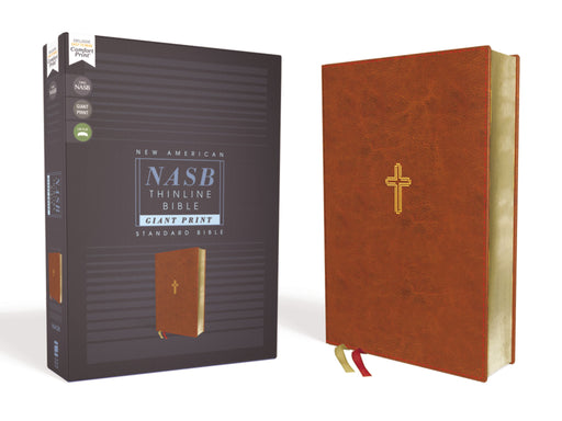 NASB-Thinline Giant Print Bible-Brown Leathersoft