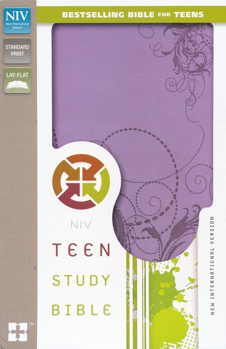 NIV Teen Study Bible- Leather Bound-Spring Violet