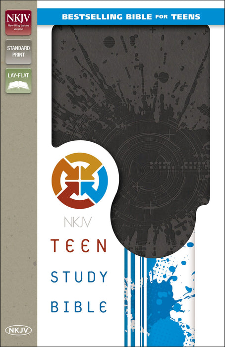 NKJ Teen Study Bible-Charcoal Italian Duo-Tone