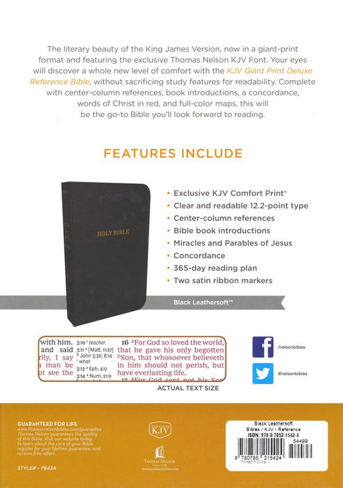 KJV - Deluxe Giant Print Reference Bible- Black
