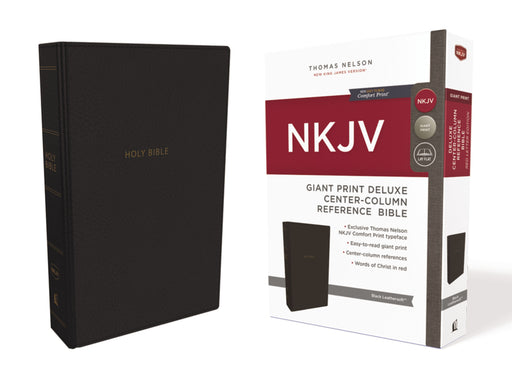 NKJV-Giant Print Deluxe Center Column Reference-Black Leathersoft