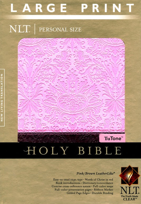 NLT Personal Size Large Print Bible-Pink and Brown-Indexed