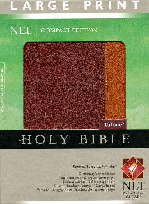 NLT-Compact Large Print Bible-Brown and Tan Duo-Tone-Indexed