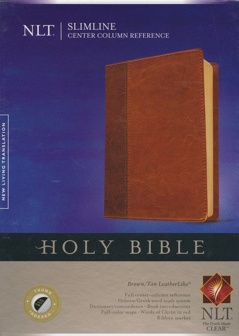 NLT Slimline Center Column Reference Bible-Tan Duo-Tone-Indexed