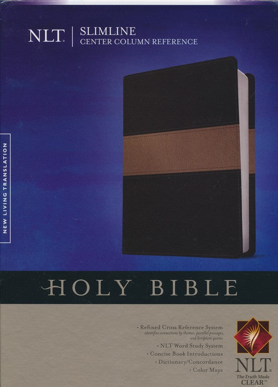 NLT Slimline Center Column Reference Bible-Black Duo-Tone