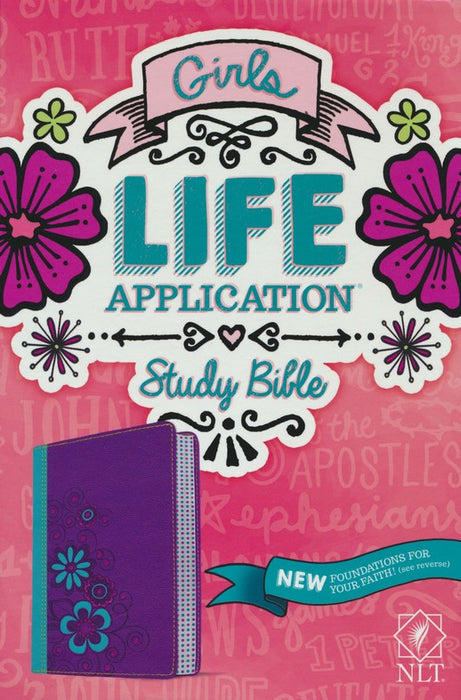 NLT Girls Life Application-Purple and Turquoise Flowers