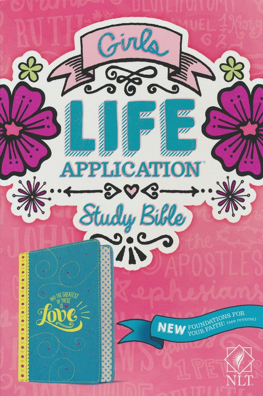 NLT Girls Life Application Study Bible-Imitation leather, teal/yellow