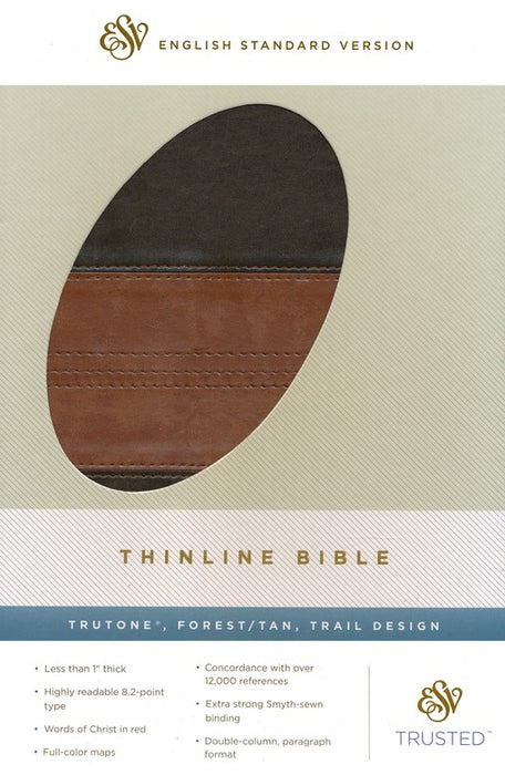 ESV-Thinline Bible-Forest and Tan
