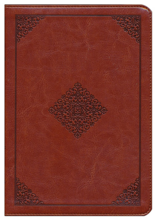ESV Study Personal Size Bible-Brown with Embossed Diamond