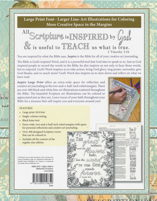 Nlt Inspire Bible Large Print Blue Leatherflex Over Board Journaling Christian Gifts Outlet