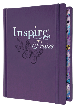 NLT Inspire Praise Bible-Purple Leatherflex over Board-Journaling & Coloring
