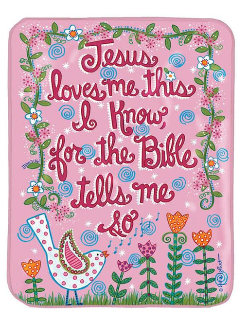 "Baby Blanket-Jesus Loves Me-Bird-Pink-30""x40"""