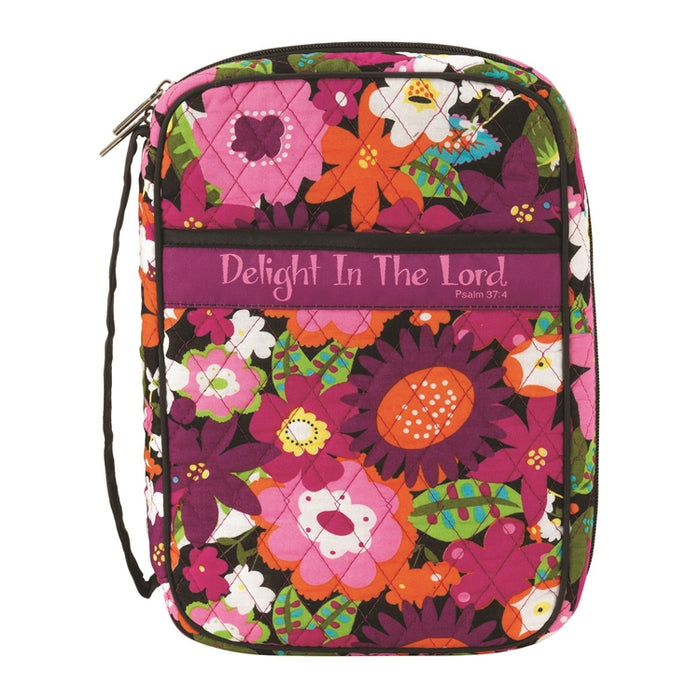 Bible Cover-Delight/Lord-Quilt-Bright Floral-Large