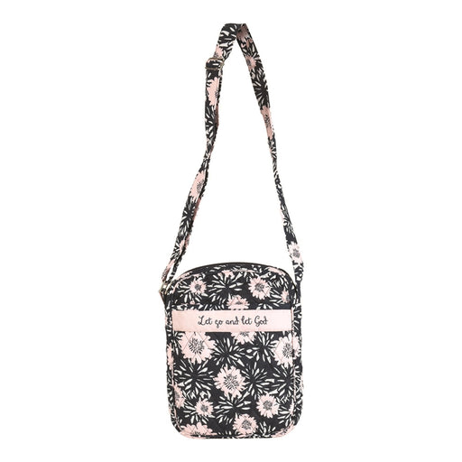 Bible Cover-Cross Body Tote-Let Go-Black Floral-Compact