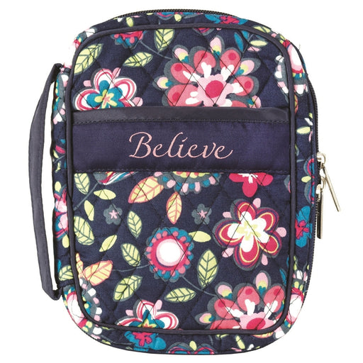 Bible Cover-Beleive-Compact-Navy Floral