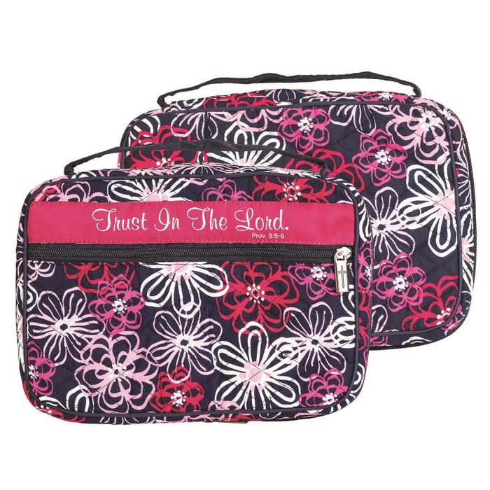 Bible Cover-Trust In The Lord-Thinline-Pink/Navy Floral
