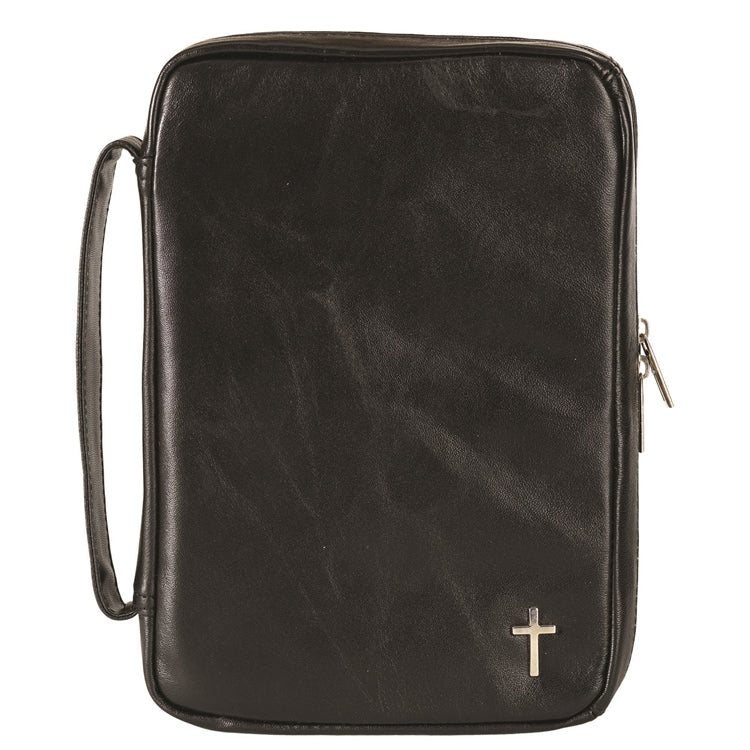 Bible Cover-Genuine Leather with Cross-Black-Large