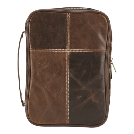 Bible Cover-Genuine Leather Stitched-Brown 2 Tone-Large