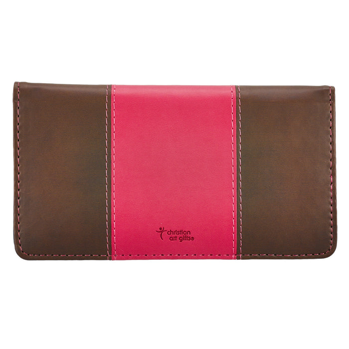 Checkbook Cover-For I Know the Plans-Pink/Brown