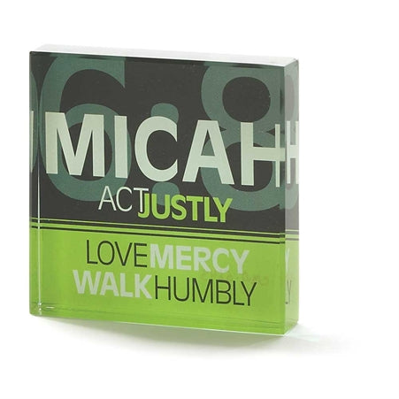 Plaque-Act Justly-Micah 6:8-Glass