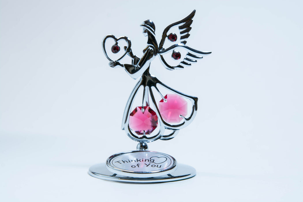 Figurine - Angel with Heart - Thinking of You-Red Crystal