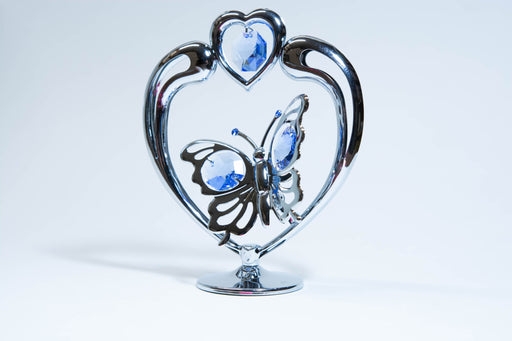 Figurine - Butterfly in Heart - Blue Crystal