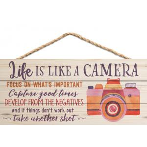 Plaque-Life Is Like A Camera With Rope Hanger