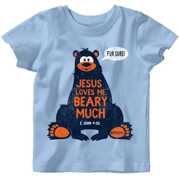 Baby T-shirt-Loves Me Beary Much-Light Blue