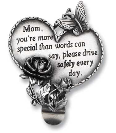 Visor Clip-Heart-Mom