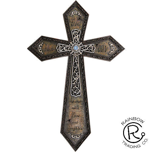 Wall Cross- God Bless Our Home-15 inch
