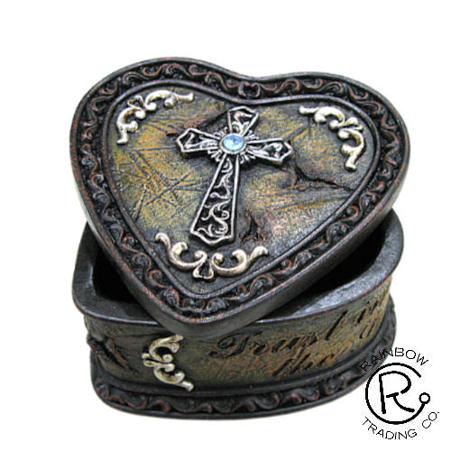 Trinket Box-Cross W/Heart