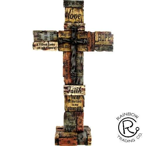 Cross-Love Hope Faith/Nail Cross Ctr-16 Inches