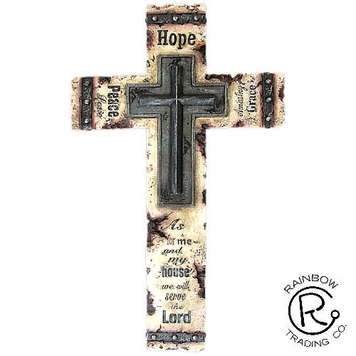 Wall Cross-As For Me/ Hope Peace Grace