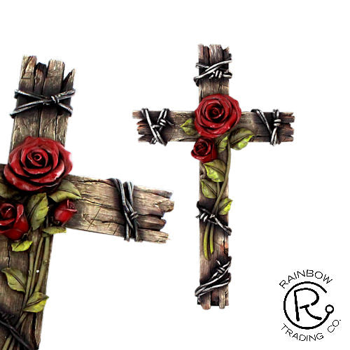 Wall Cross-Rose W/Wood Look-Barbed Wire-10 Inch