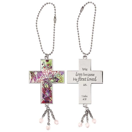 Car Charm-Cross/Love-Metal
