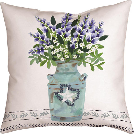 Pillow-Bluebonnets in Vase