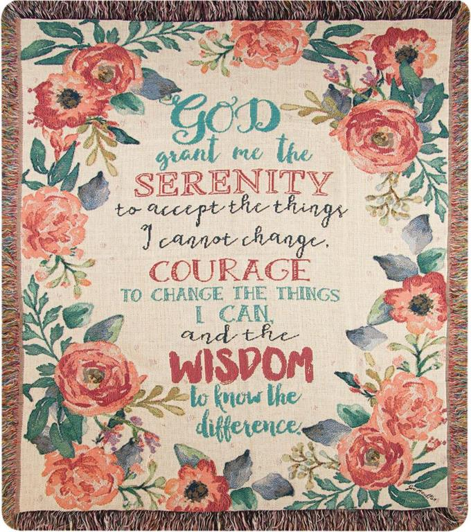 Throw-Serenity Prayer Floral Tapestry