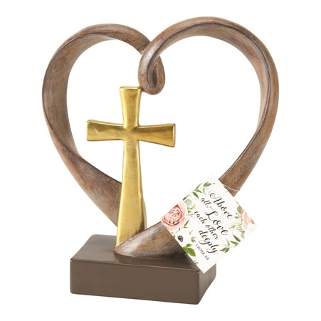Figurine-Heart w/Cross-Golden Anniversary