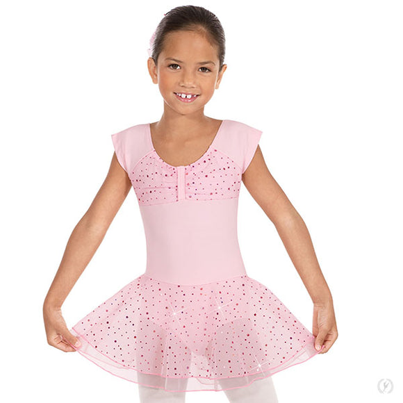 Eurotard Girls Sequined Skirt Ruched Top Short Sleeve Dance Dress - Dancetastic Dancewear