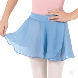 Online Only***Eurotard Girls Chiffon Mock Wrap Pull On Skirt - Dancetastic Dancewear