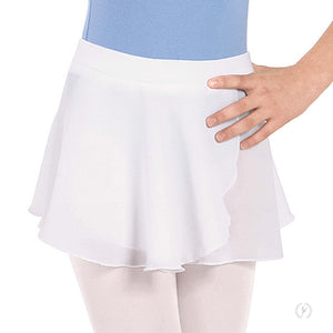 Eurotard Girls Chiffon Mock Wrap Pull On Skirt-White - Dancetastic Dancewear