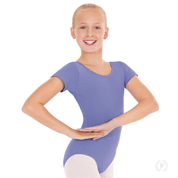 Eurotard Girls Short Sleeve Cotton Leotard-White, Purple, or Lilac - Dancetastic Dancewear