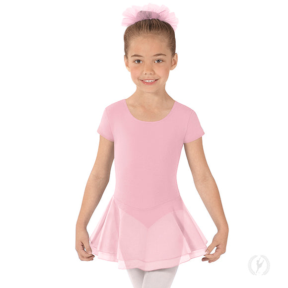 Eurotard Girls Short Sleeve Dance Dress with Cotton Lycra - Dancetastic Dancewear