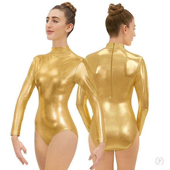 Eurotard Womens Metallic Mock Neck Long Sleeve Leotard with Zipper Back - Dancetastic Dancewear