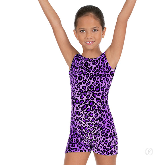 Eurotard Girls Sweet Safari Soft Velvet Leopard Print Gymnastics Biketard - Dancetastic Dancewear