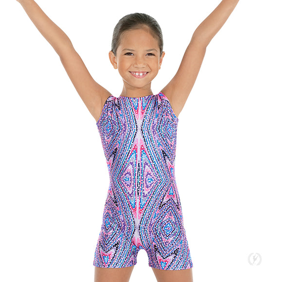 Eurotard Girls Kaleidoscope Print Metallic Foil Gymnastics Biketard - Dancetastic Dancewear